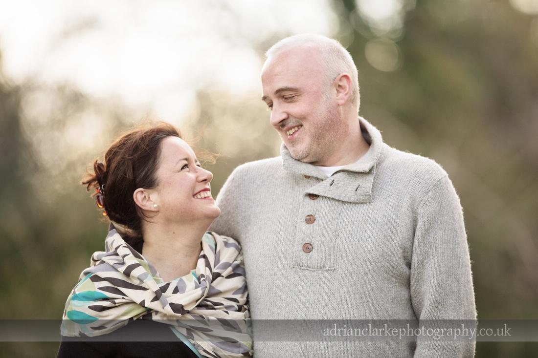 Photograph of a couple with sun behind them, Sevenoaks, Kent