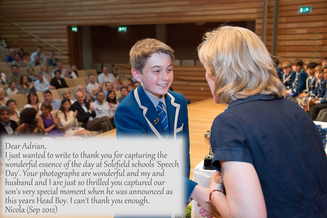 client feedback Solefield School Sevenoaks prizegiving