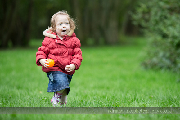 Photograph of young girl running with a ball, Brasted, Sevenoaks